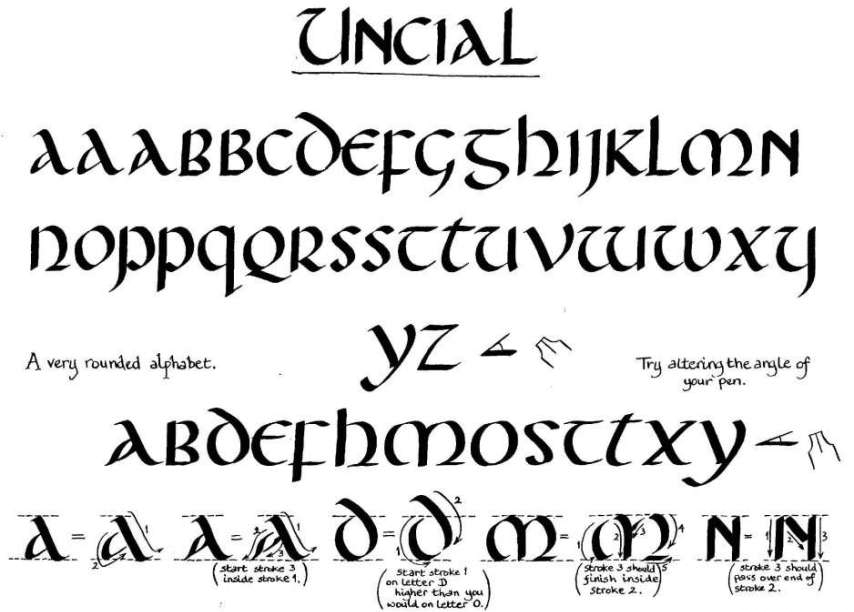 Uncial alphabet practice calligraphy Learn calligraphy letters